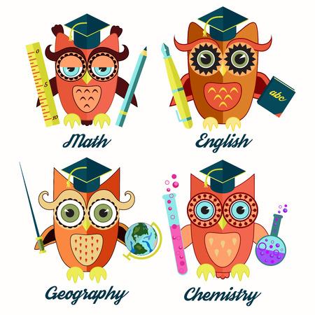 erudition: Owls flat characters - teachers Illustration
