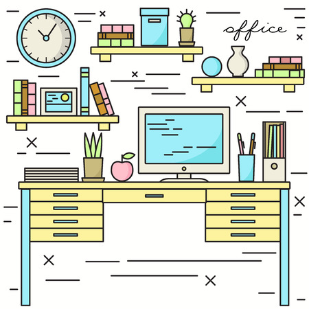 lineart: Office workplace lineart illustration Illustration