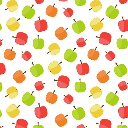 Apple seamles pattern, vegetarian, fruits pattern, different colors Illustration
