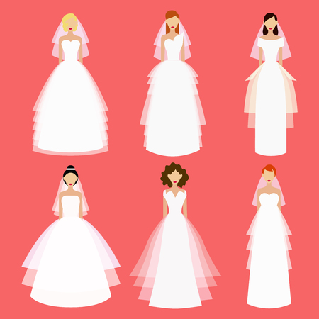 Brides and wedding dresses collection. 일러스트
