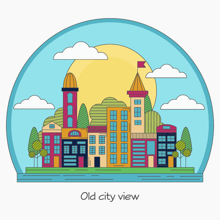old city: Old city flat lineart illustration.