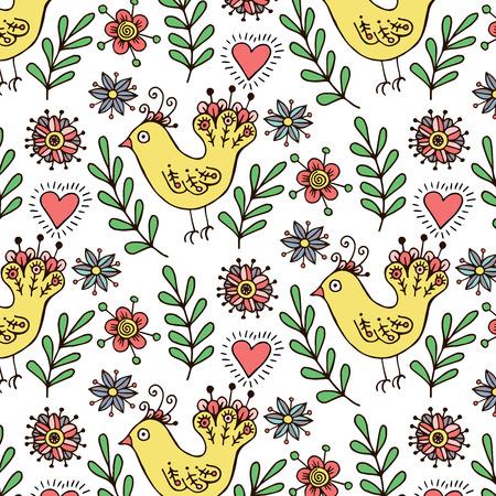 bird pattern: Cute childish hand drawn bird pattern.