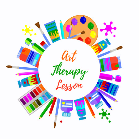 Art therapy round circle border. Colorful text frame with different art tools for painting. Vectores