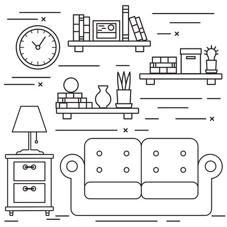 lineart: Black and white lineart living room with sofa and bookshelfs