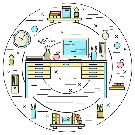 lineart: Office workplace vector illustration in lineart