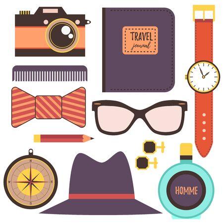 fashion accessories: Man fashion accessories Illustration