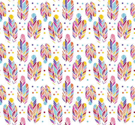 mottled: Feather colorful seamless pattern Illustration