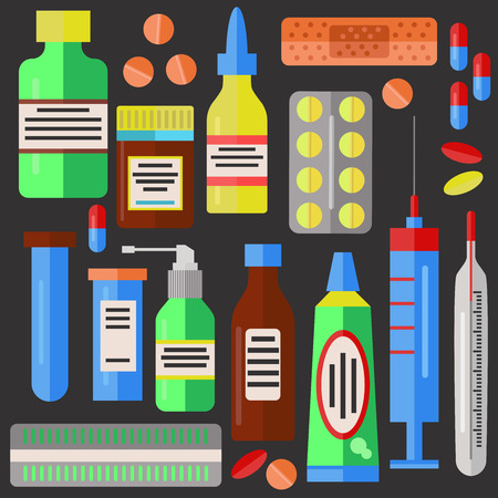 drugs pills: Medicine drugs pills collection Illustration