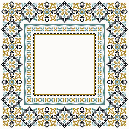 stylization: Colorful cross stitch stylization square border Illustration