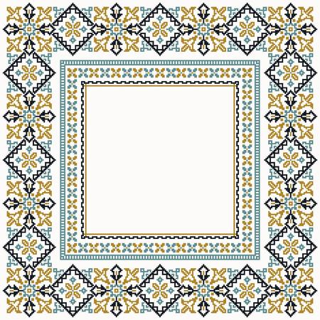 Colorful cross stitch stylization square border Vectores