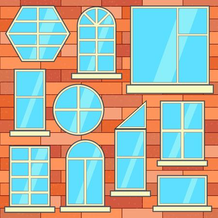 architecture: Windows vector architecture collection Illustration