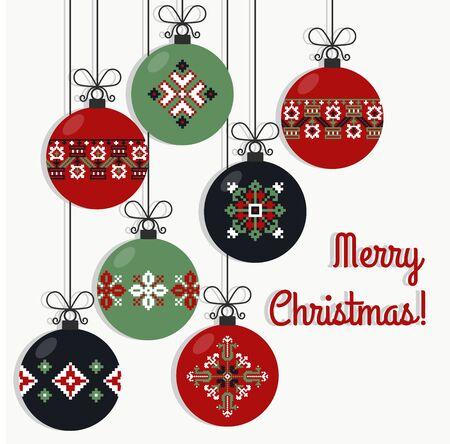 punto de cruz: Ilustración de vector de bolas de Navidad tradicional