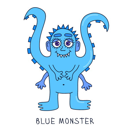creepy alien: Funny doodle blue octopus monster