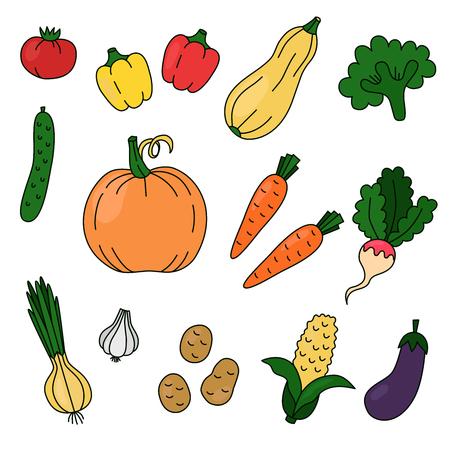 Vegetables doodles colorful vector set