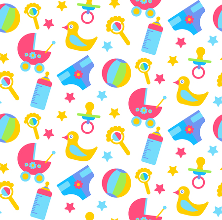 Cute baby child toys seamless vector pattern