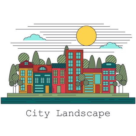 landscape architecture: City line art graphic landscape neighborhood town architecture house Illustration