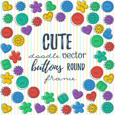 Doodle buttons border. Illustration