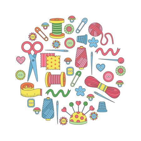 ide: Sewing doodle icons vector set in circle