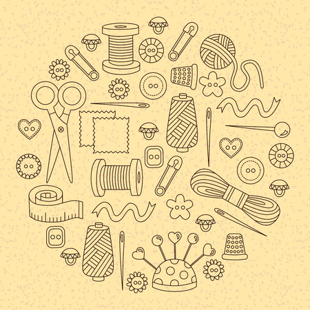 Sewing icons line doodles vector set