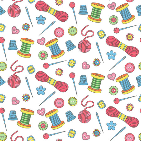 Cute sewing tools doodle seamless vector pattern