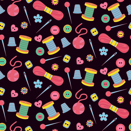 Cute doodle sewing tools seamless vector pattern
