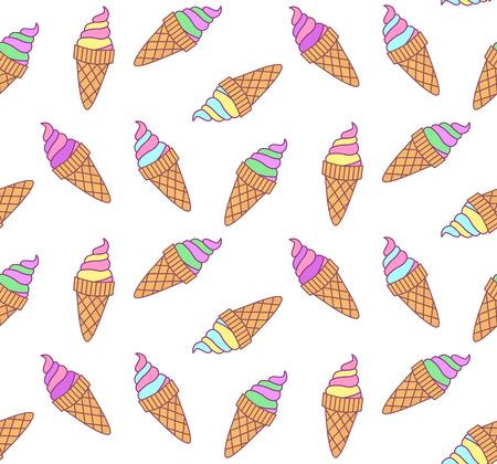 Cute ice cream doodle pattern.