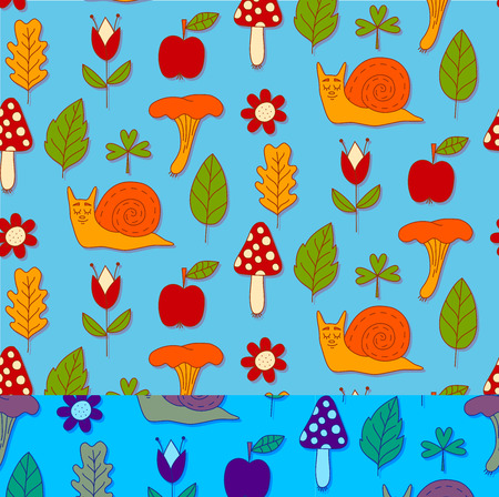 Colorful cute childish snails seamless pattern with apple flowers mushrooms and leafs.