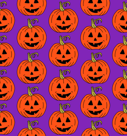 Halloween pumplin jask o'lantern seamless vector pattern