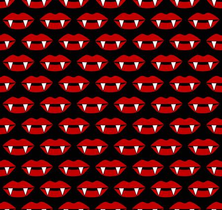 Vampire mouthful lipsoween seamless vector pattern Illustration