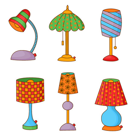 lamp shade: Colorful doodle table interior lamps vector set