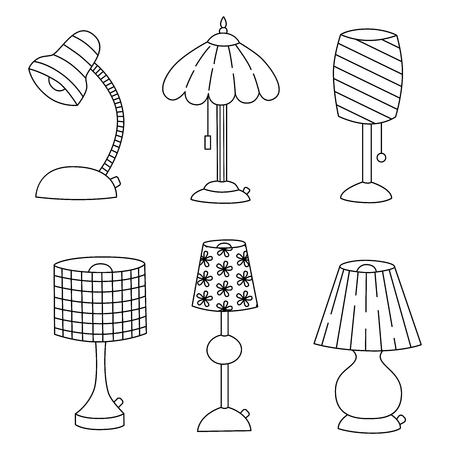 lamp shade: Doodle table lamps black and white outline icons set