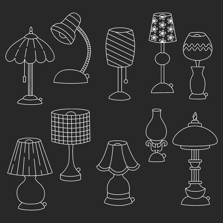 lamp shade: Desk table Lamps outline doodle icons vector set