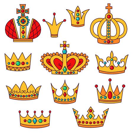 Crowns doodle colorul icons vector set