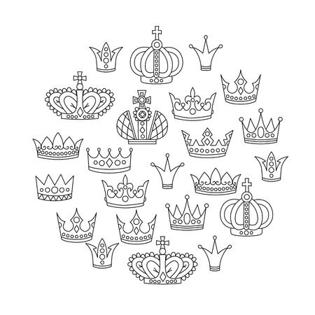 Royal crowns doodle drawn line vector set