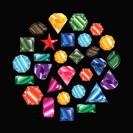 Stones and crystals vector set isolated Illustration