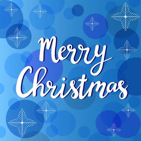 Merry Christams hand written letters with snowflakes on blue background