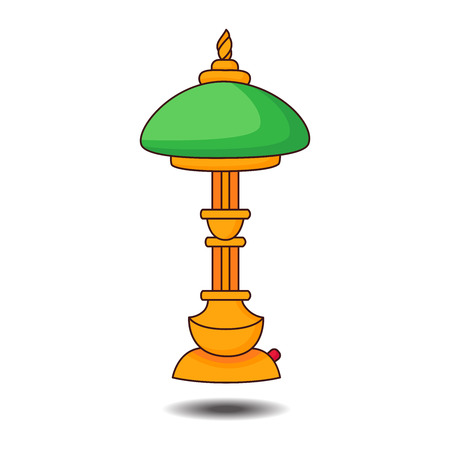 pc: Vintage table lamp colorful vector illustration