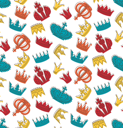 Crowns colorful seamless vector pattern