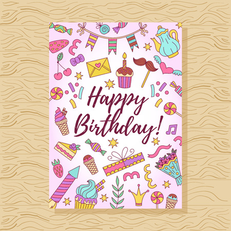 Birthday card with colorful vector doodle icons Vettoriali
