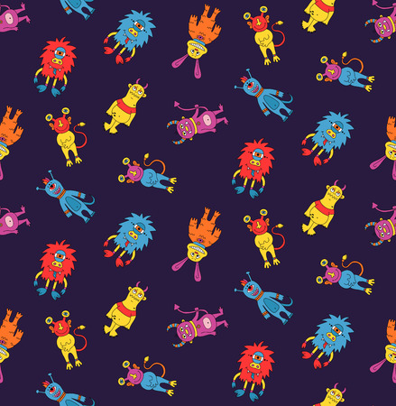 Monsters cute doodle colorful pattern.
