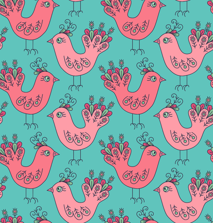 Birds colorful cute doodle simple seamless vector pattern