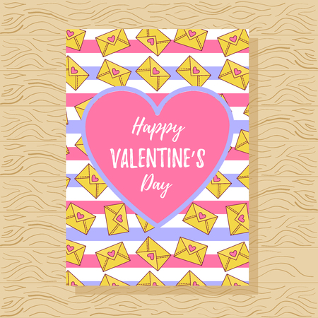 St. Valentines day greeting card with love letters and stripes colorful cute romantic template