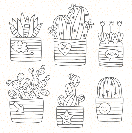Cactus in pot doodle line icons vector set 向量圖像