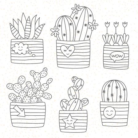 Cactus in pot doodle line icons vector set Ilustrace