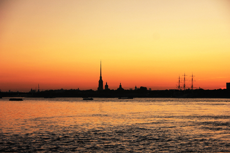 Peter and Paul Fortress Saint Petersburg, Russia silhouette on sunset sky, view from river Neva on September 2017 Editoriali