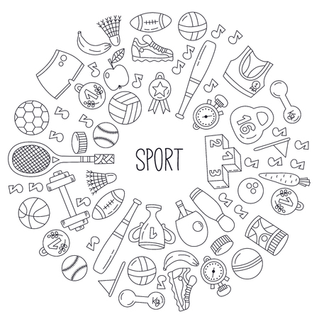 Sport doodle icons round black and white drawings  vector frame