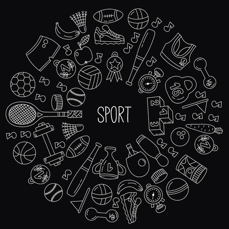 Sport fitness wellness icons round vector frame