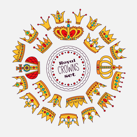 Royal crowns doodle icons round vector frame colorful