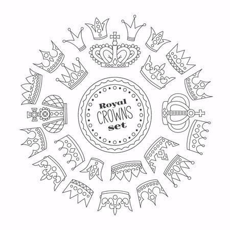 Royal crowns doodle outline vector set in round vector frame Illustration