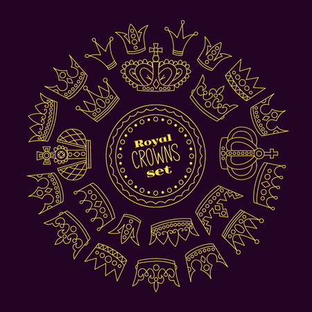 Crowns round frame doodle  icons coolection Illustration